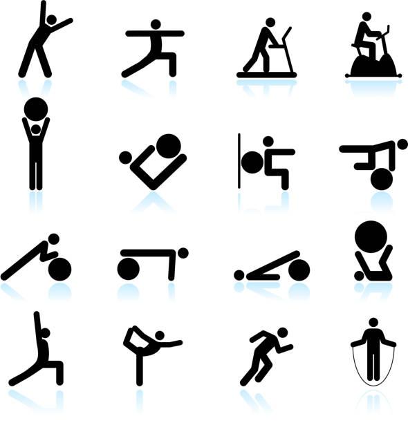 Fitness yoga and palates exercise black & white icon set Fitness yoga and palates exercise black & white icon set touching toes stock illustrations