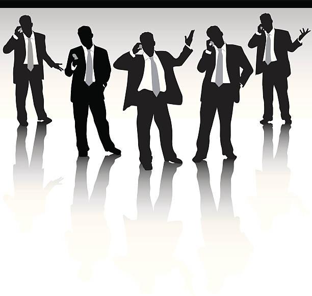 Five business men vector art illustration