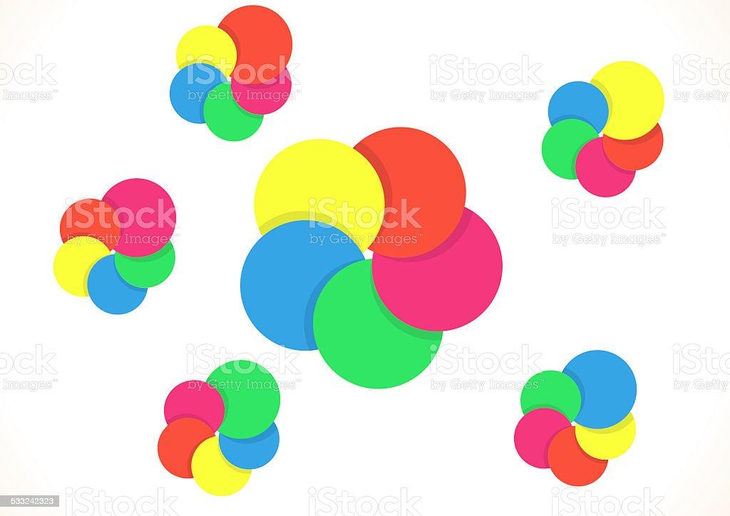 Five color rings vector art illustration