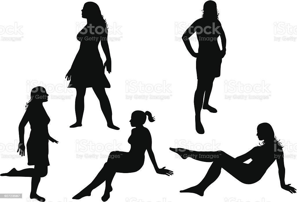five different poses vector art illustration