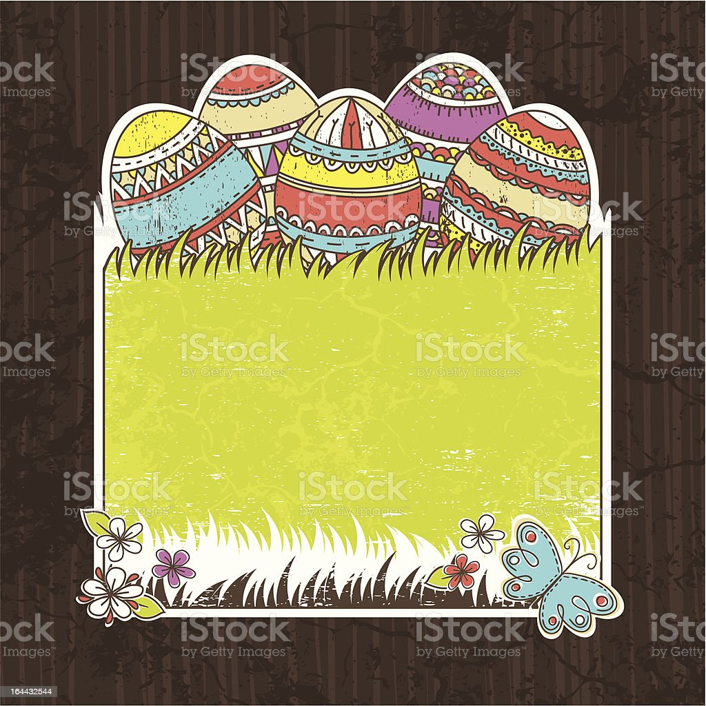 five easter egg over  green grass royalty-free stock vector art
