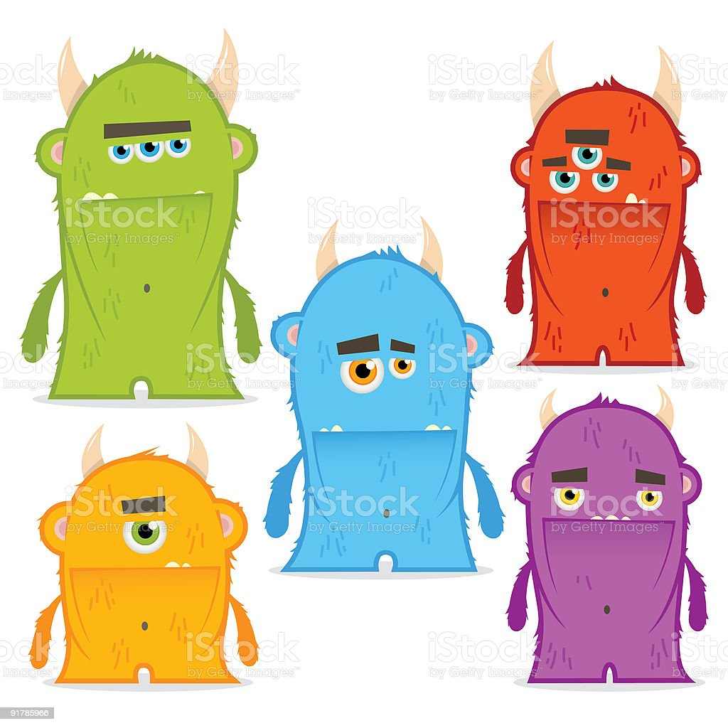 Five Furry Monsters royalty-free stock vector art