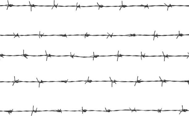 Cinco piezas de alambre de espino - ilustración de arte vectorial