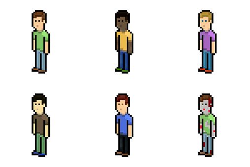 Five pixelated men and a zombie