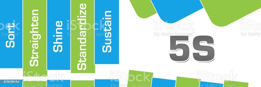 5 S 緑青い抽象図形の水平 ベクターアートイラスト
