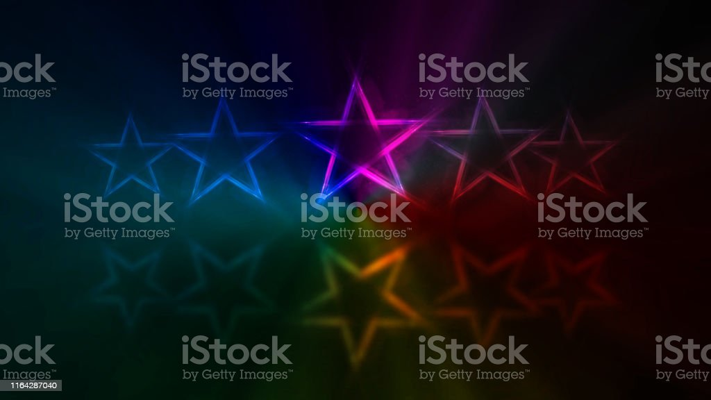 Five stars customer product rating review. Row of neon lights stars...