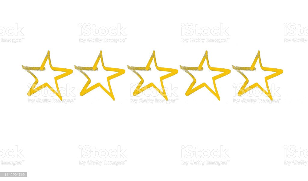 Five stars isolated on white background.