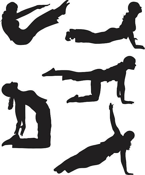 Five Yoga Poses vector art illustration