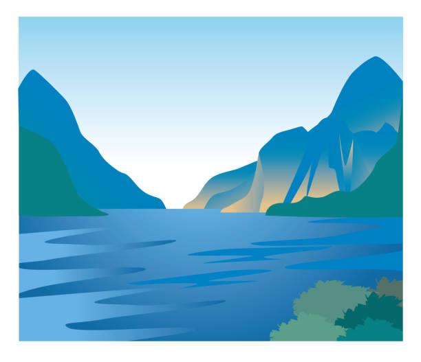 illustrazioni stock, clip art, cartoni animati e icone di tendenza di fjord image - natural landscape - fiordi