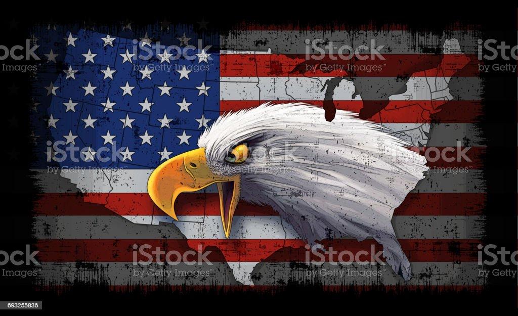 USA flag and map with bald eagle vector art illustration