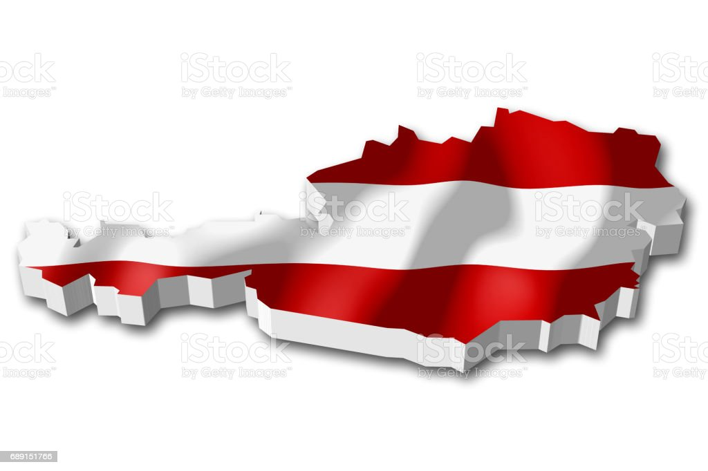 3D flag - Austria vector art illustration