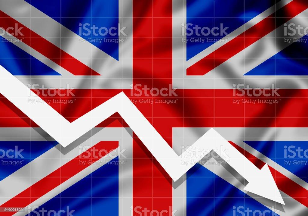 UE bandeira Grã-Bretanha seta para baixo, o conceito de falhas - ilustração de arte em vetor