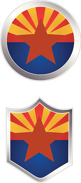Flag Buttons Arizona vector art illustration