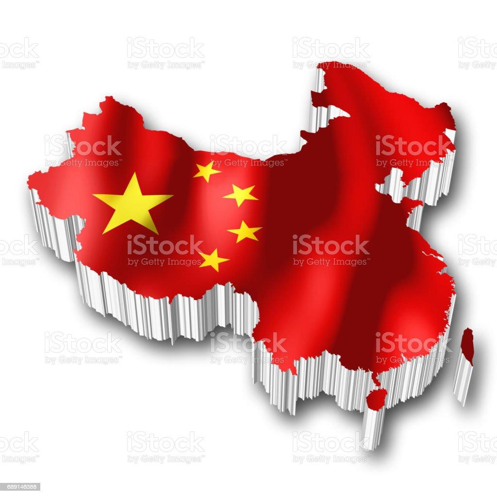 3D flag - China vector art illustration