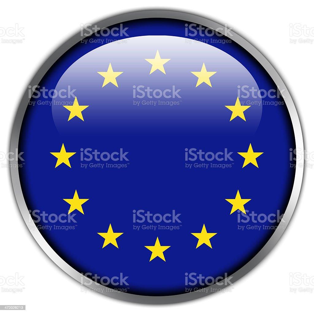 EU Flag glossy button royalty-free stock vector art