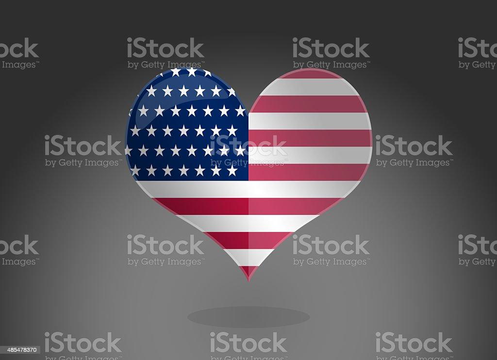 Usa Flagge Herzform Stock Vektor Art und mehr Bilder von 2015 ...