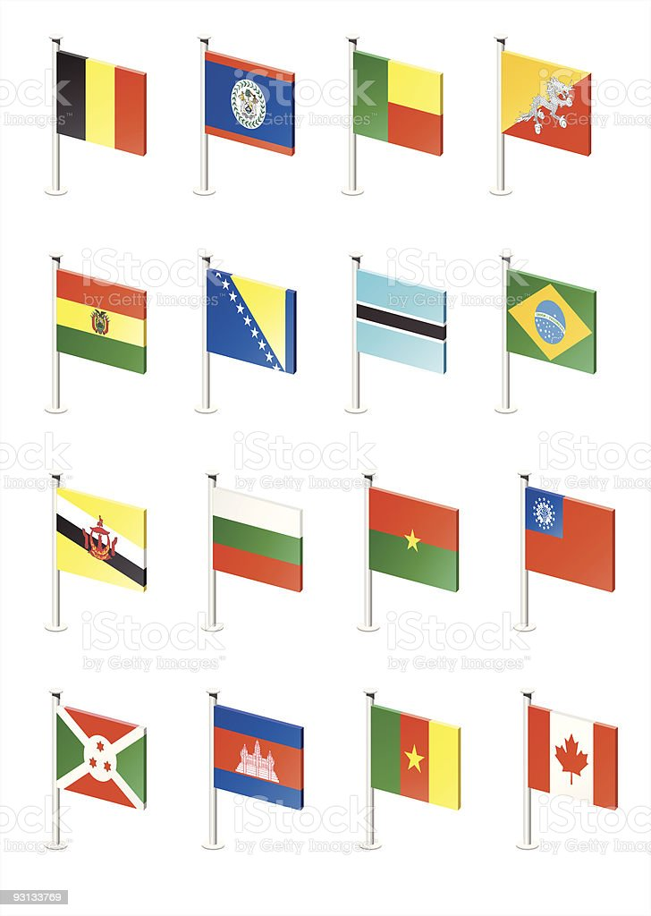 Flag icon set (part 2) vector art illustration