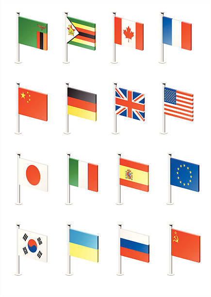 stockillustraties, clipart, cartoons en iconen met flag icon set (part 13) - zuid europa