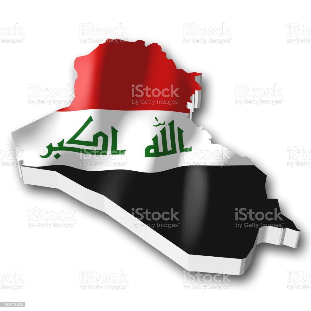 3D flag - Iraq vector art illustration