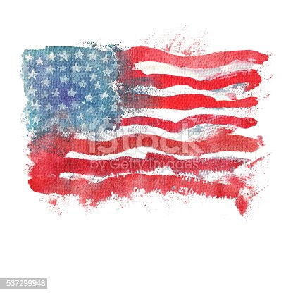 istock Flag of America. Watercolor illustration. 537299948