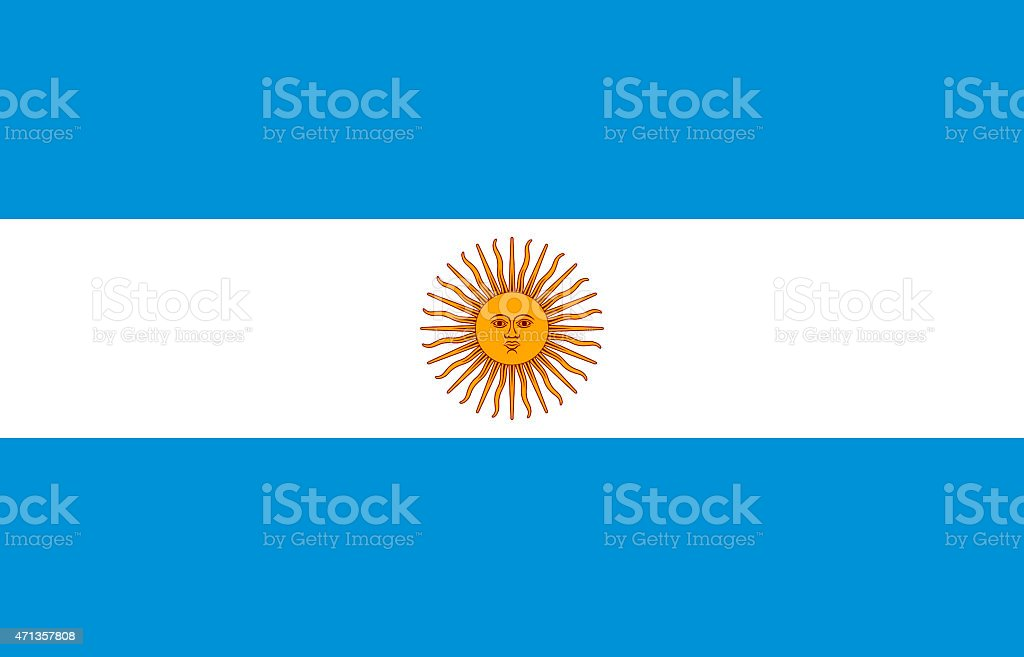 Flag of Argentina with blue stripes and a yellow sun symbol vector art illustration