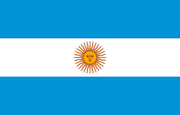 flag of argentina with blue stripes and a yellow sun symbol - argentina flag stock illustrations, clip art, cartoons, & icons
