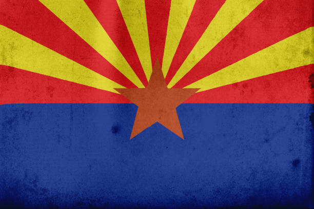 Flag of Arizona, USA with an old, vintage style vector art illustration