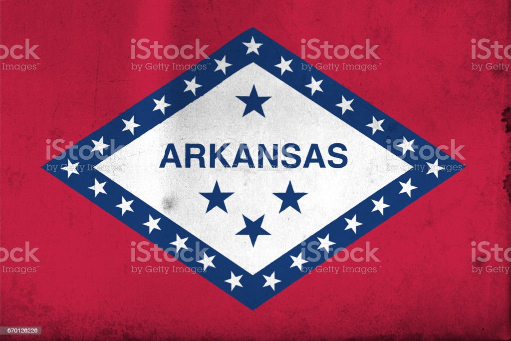 Flag of Arkansas, USA with an old, vintage style vector art illustration