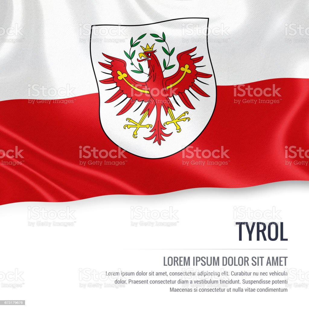 Flag of Austrian state Tyrol waving on an isolated white background. State name and the text area for your message. vector art illustration