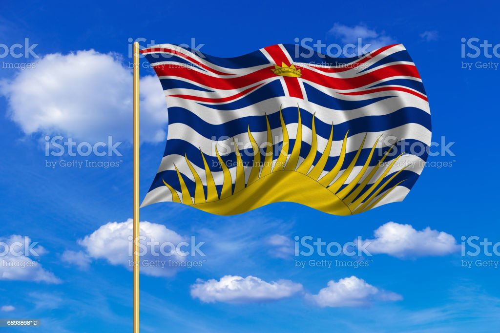 Flag of British Columbia on flagpole wavy blue sky vector art illustration