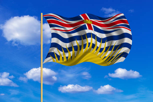 Flag of British Columbia on flagpole wavy blue sky Canadian provincial BC patriotic element and official symbol. Canada banner. Flag of the Canadian province of British Columbia on flagpole waving in the wind, blue sky background. Fabric texture british columbia stock illustrations