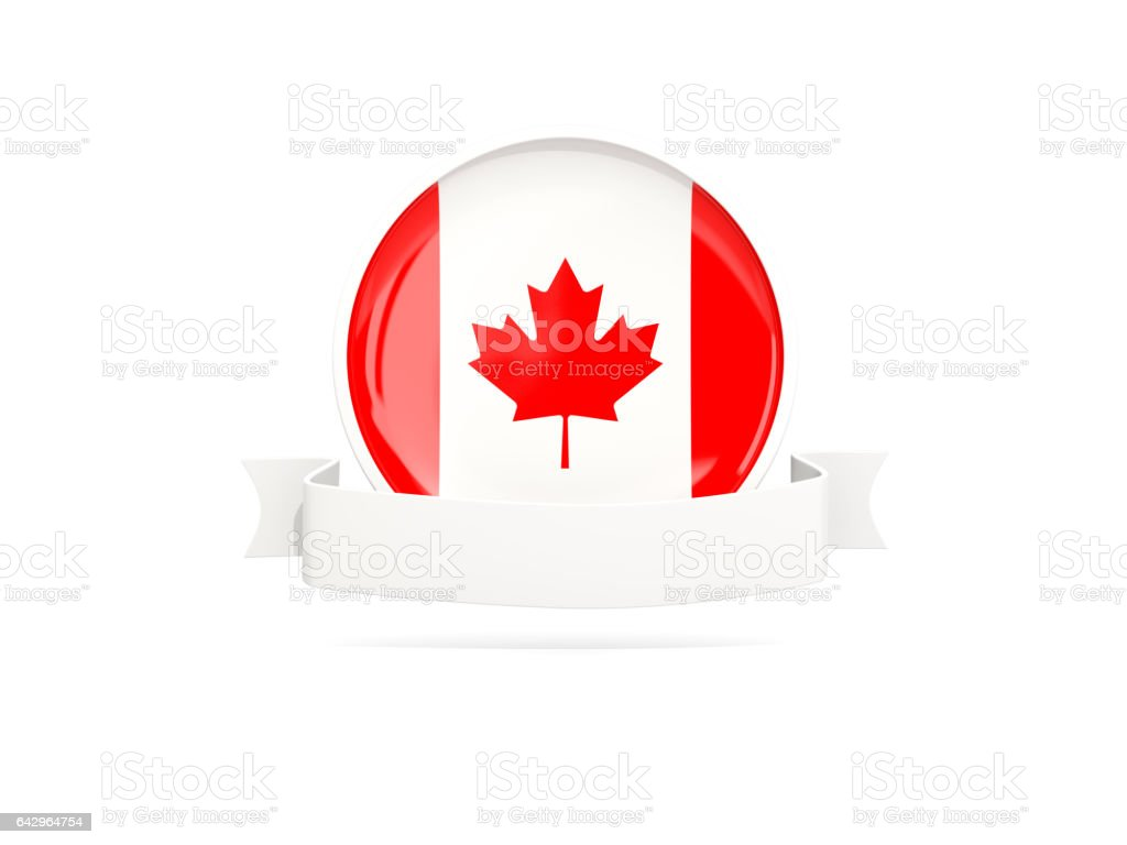 flag of canada with banner stock vector art more images of award