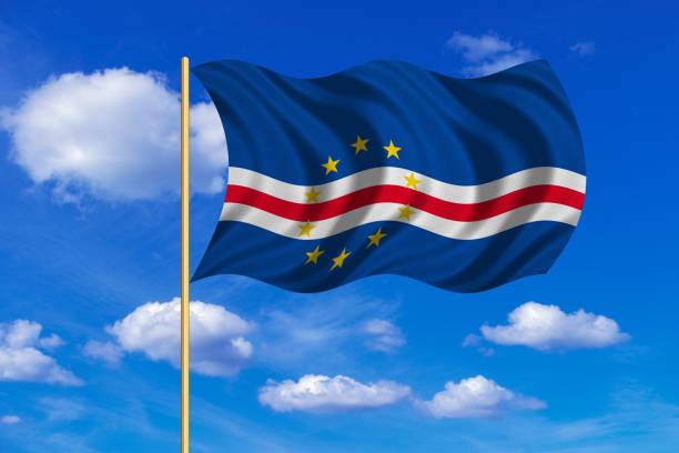 Flag of Cape Verde waving on blue sky background vector art illustration