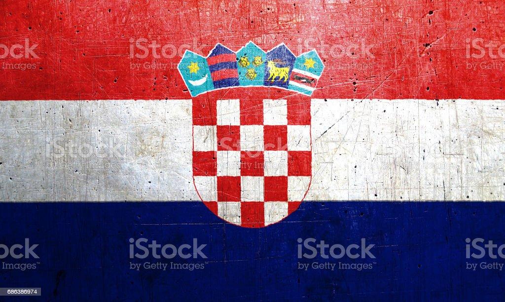 Bandera de Croacia con una textura de metal vieja, vintage - ilustración de arte vectorial