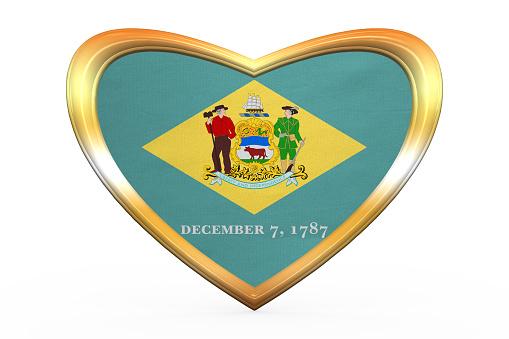 Flag of Delaware in heart shape, golden frame