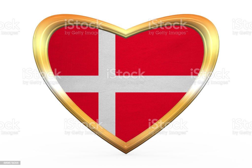 Flagge Von Dänemark In Herz Form Goldener Rahmen Stock Vektor Art ...