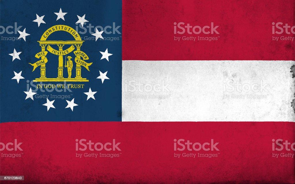 Bandeira da Geórgia, EUA, com um estilo antigo, vintage - ilustração de arte em vetor