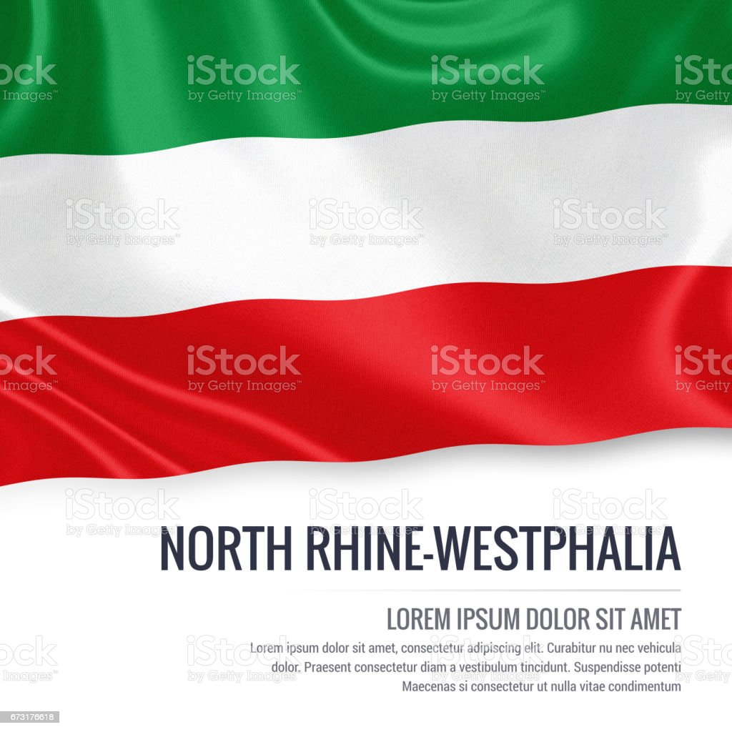 Flag of German state North Rhine-Westphalia waving on an isolated white background. State name and the text area for your message. vector art illustration