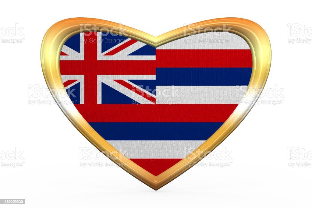 Flagge Von Hawaii In Herz Form Goldener Rahmen Stock Vektor Art und ...