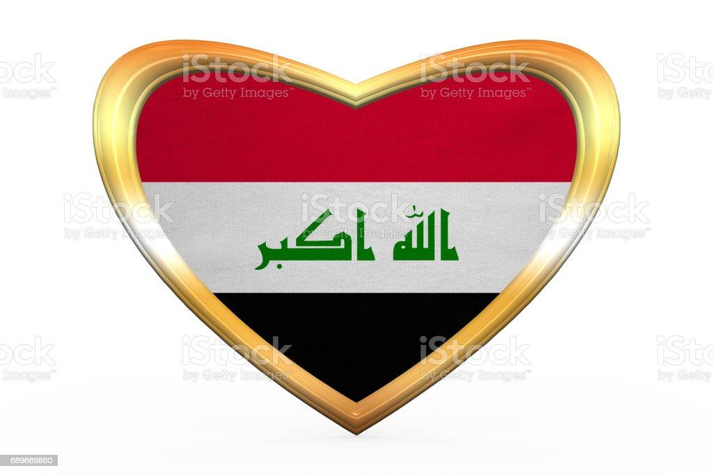 Flag of Iraq in heart shape, golden frame vector art illustration