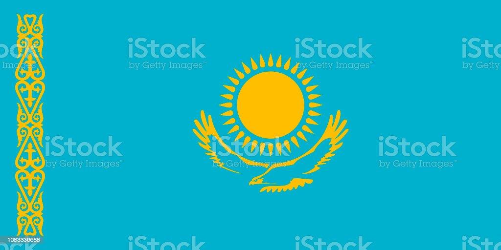 Flag of Kazakhstan. vector art illustration