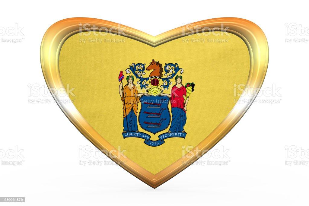 Flagge Von New Jersey In Herz Form Goldener Rahmen Vektor ...