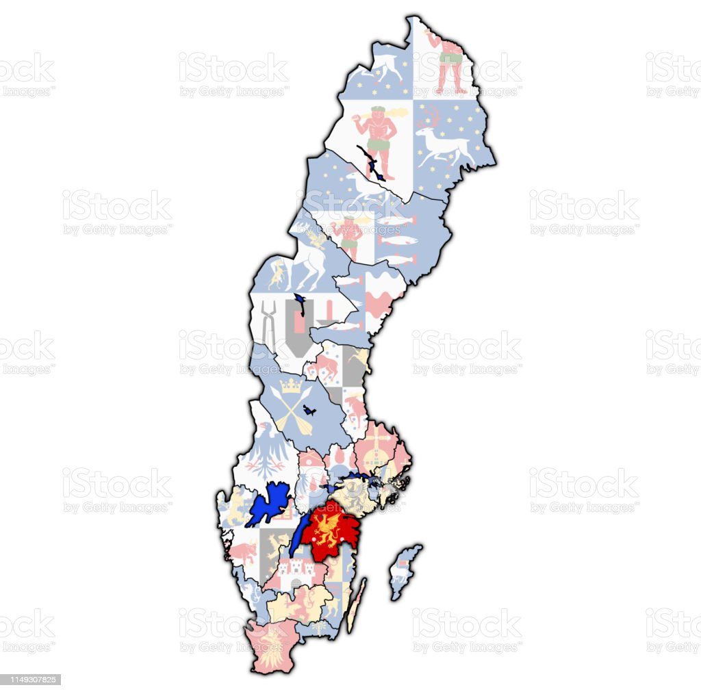 Flag Of Ostergotland County On Map Of Sweden Stock Illustration Download Image Now Istock