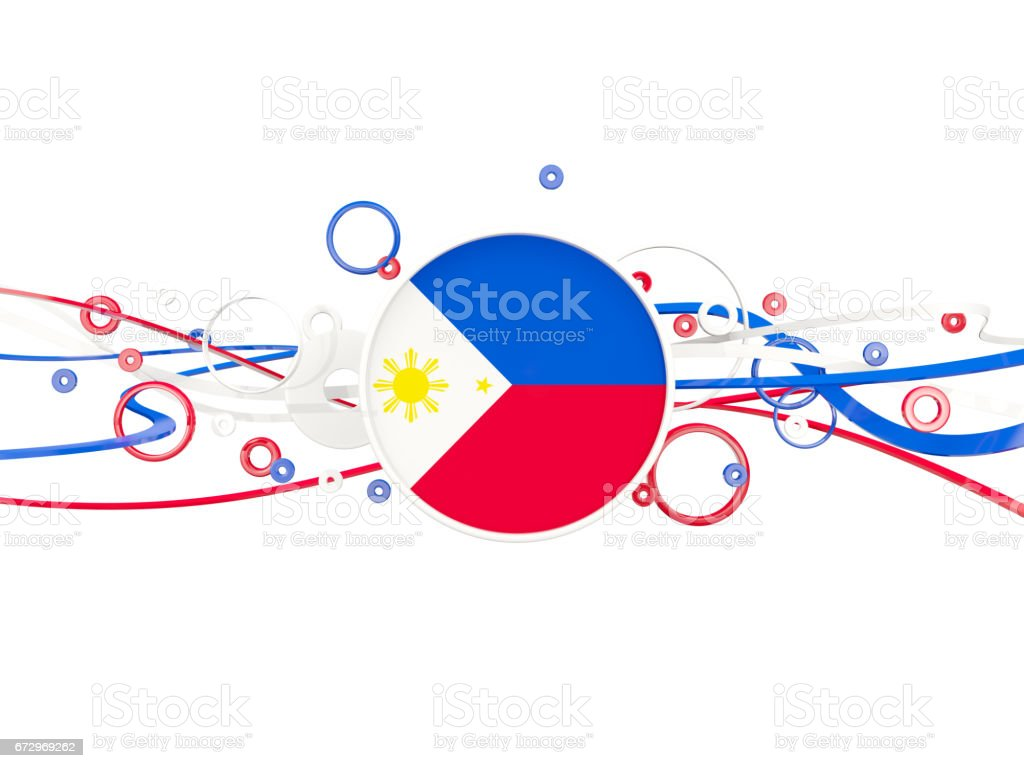 Flag of philippines, circles pattern with lines vector art illustration
