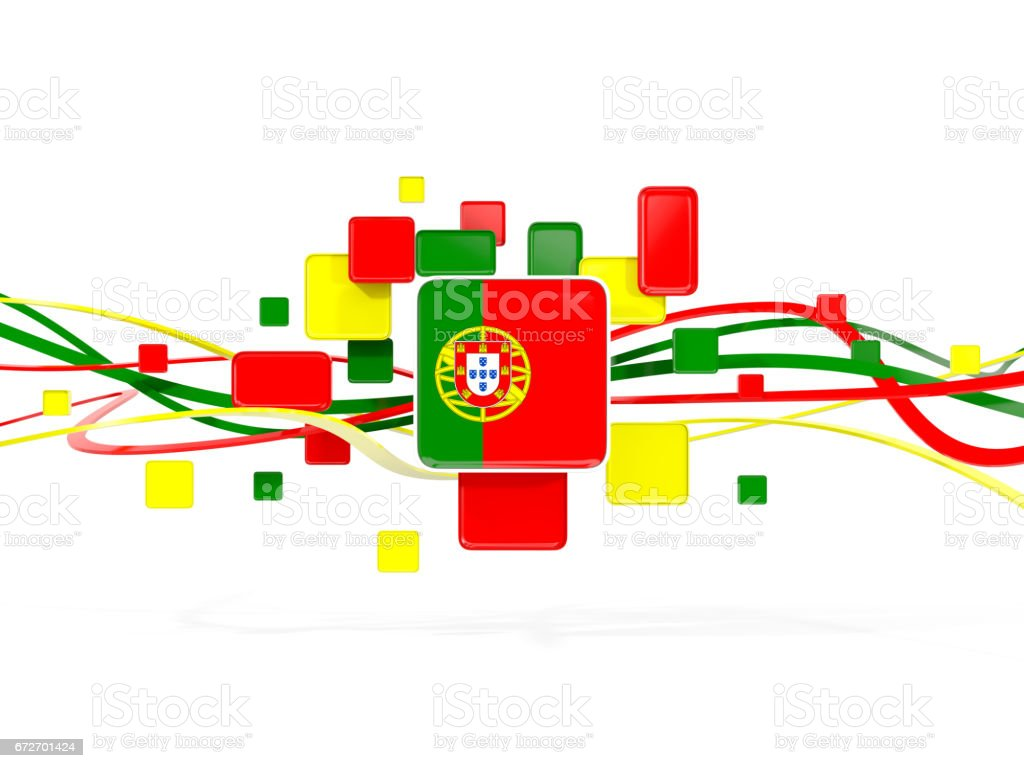 Flag of portugal, mosaic background with lines - ilustração de arte vetorial