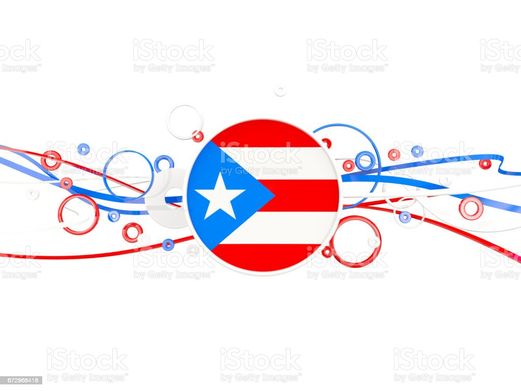Flag Of Puerto Rico Circles Pattern With Lines Stock Illustration