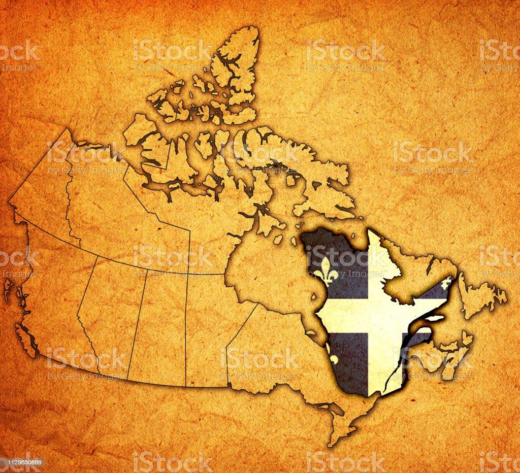Carte Administrative Canada.Drapeau Du Quebec Sur La Carte Administrative Du Canada