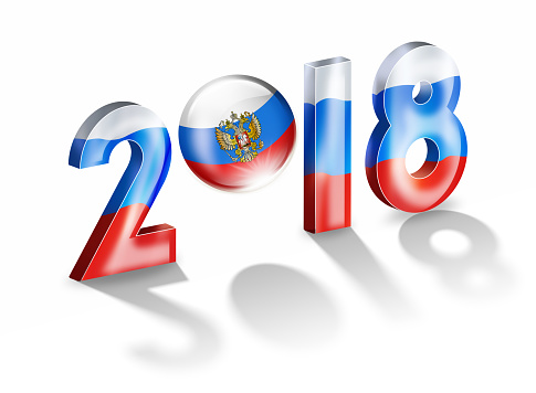 Flag of Russia with year 2018