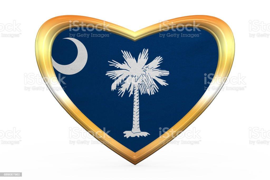 Flag Of South Carolina Heart Shape Golden Frame Stock Vector Art