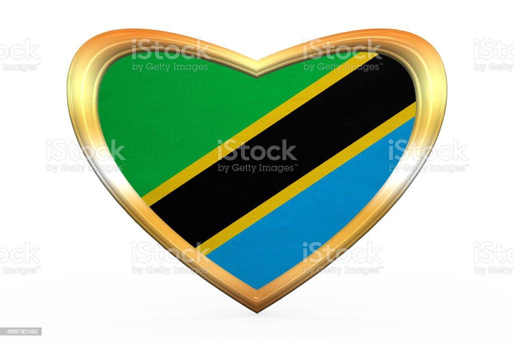 Flagge Von Tansania In Herz Form Goldener Rahmen Stock Vektor Art ...